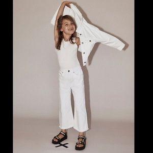 NWT ZARA Girls Culotte Raw Hem White Jeans 7